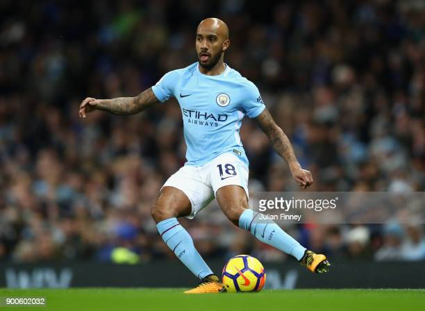Fabian Delph of Manchester City in action during the Premier League match between Manchester City and Watford at Etihad Stadium on January 2 2018 in...