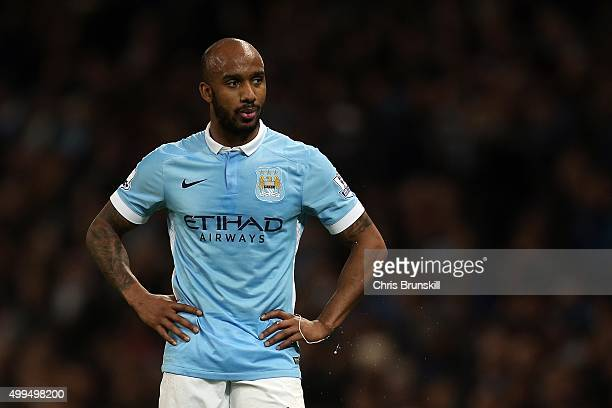 Fabian Delph of Manchester City looks on during the Capital One Cup Quarter Final match between Manchester City and Hull City at Etihad Stadium on...