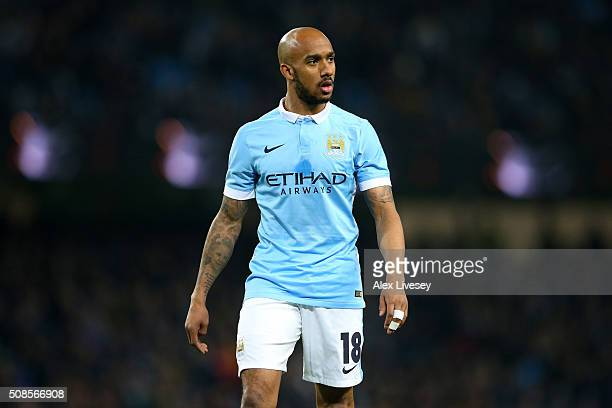 Fabian Delph of Manchester City looks on during the Capital One Cup Semi Final Second Leg match between Manchester City and Everton at Etihad Stadium...