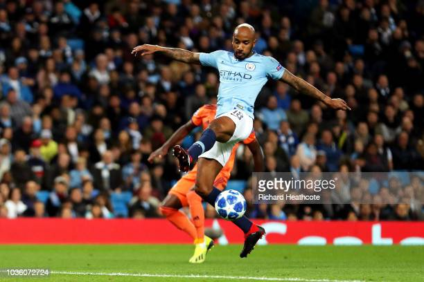 Fabian Delph of Manchester City makes a mistake which later leads to Lyon's first goal during the Group F match of the UEFA Champions League between...