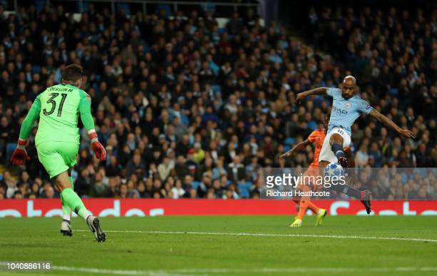 Fabian Delph of Manchester City makes a mistake which leads to Lyon's first goal during the Group F match of the UEFA Champions League between...