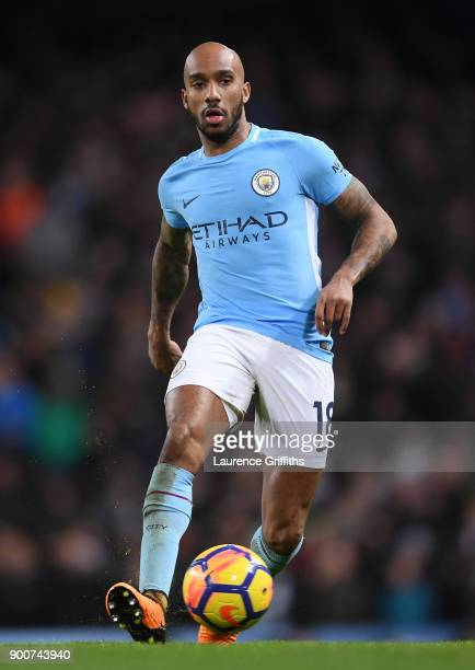 Fabian Delph of Manchester City runs with the ball during the Premier League match between Manchester City and Watford at Etihad Stadium on January 2...