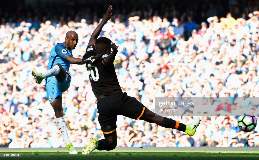 Fabian Delph of Manchester City scores his sides third goal during the Premier League match between Manchester City and Hull City at Etihad Stadium on April 8, 2017 in Manchester, England.