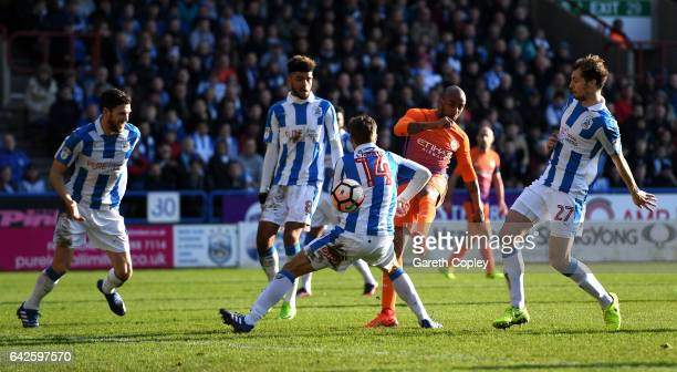 Fabian Delph of Manchester City shoots during The Emirates FA Cup Fifth Round match between Huddersfield Town and Manchester City at John Smith's...