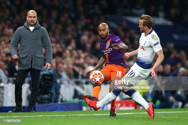 Fabian Delph of Manchester City vies for possession with Harry Kane of Tottenham Hotspur resulting in an injury for Harry Kane during the UEFA...