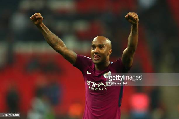 Fabian Delph of Mnchester City celebrates victory after the Premier League match between Tottenham Hotspur and Manchester City at Wembley Stadium on...