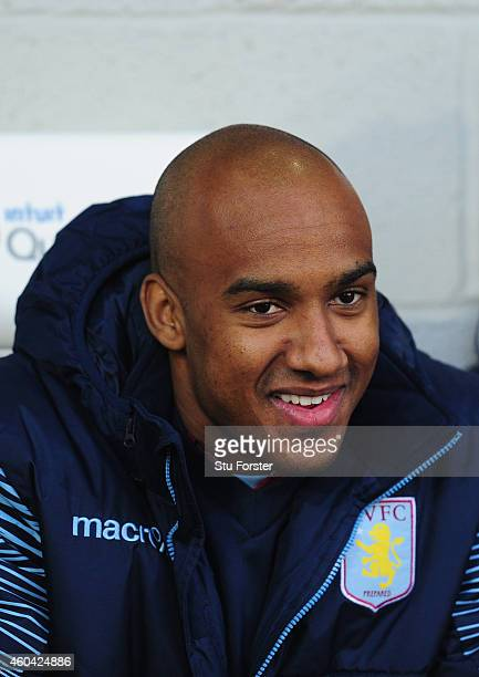 Fabian Delph of Villa raises a smile before the Barclays Premier League match between West Bromwich Albion and Aston Villa at The Hawthorns on...