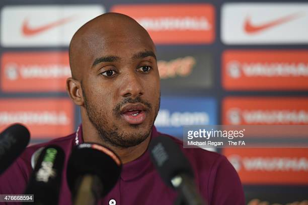 Fabian Delph speaks to the media after the England training session on June 11, 2015 in St Albans, England.