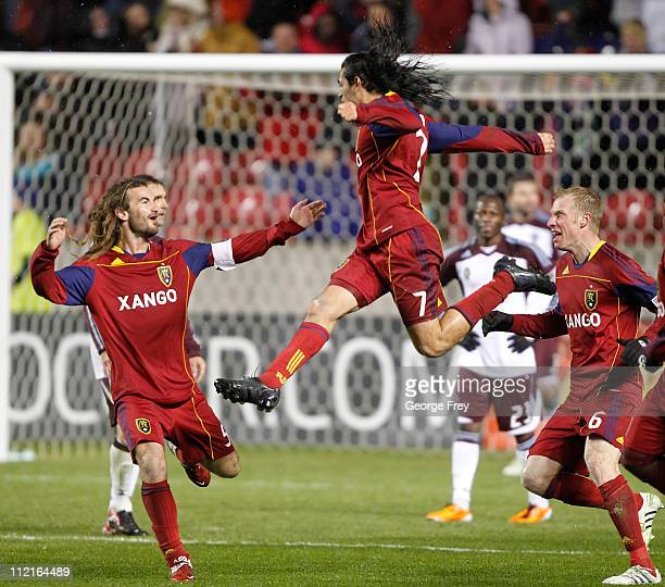 Fabian Espindola Kyle Beckerman and Nat Borchers of Real Salt Lake celebrates Espindola game winning goal in the last minutes against the Colorado...