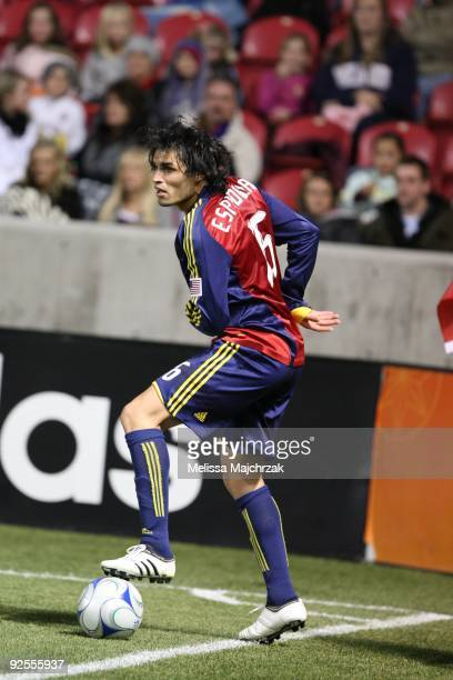 Fabian Espindola of Real Salt Lake dribbles the ball against the Colorado Rapids at Rio Tinto Stadium on October 24 2009 in Sandy Utah