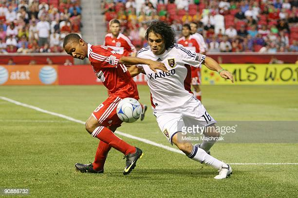 Fabian Espindola of Real Salt Lake goes after the ball against Mike Banner of Chicago Fire at Rio Tinto Stadium on September 12 2009 in Sandy Utah