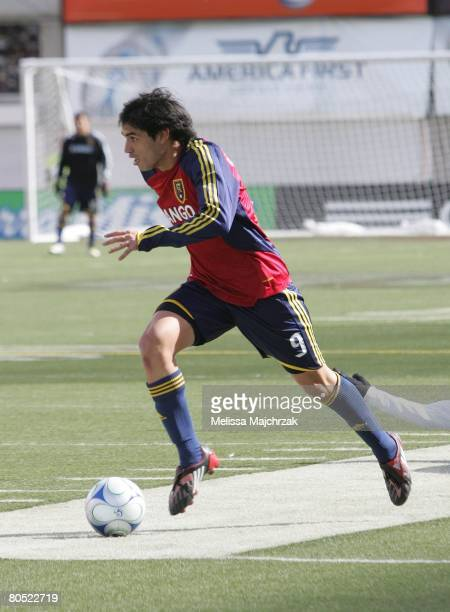 Fabian Espindola of the Real Salt Lake kicks the ball against the Chicago Fire at Rice Eccels Stadium on March 29, 2008 in Salt Lake City, Utah.