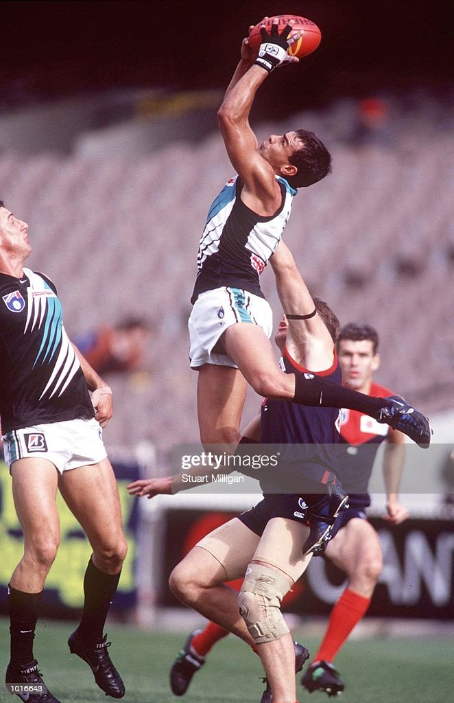 Fabian Francis of Port Adelaide takes a mark, in the match between Melbourne and Port Adelaide, during round five of the AFL season, played at the Melbourne Cricket Ground, Melbourne, Australia. Mandatory Credit: Stuart Milligan/ALLSPORT