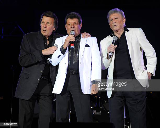 Fabian Frankie Avalon and Bobby Rydell of The Golden Boys perform at the Pavillon at Seminole Casino Coconut Creek on March 1 2013 in Coconut Creek...