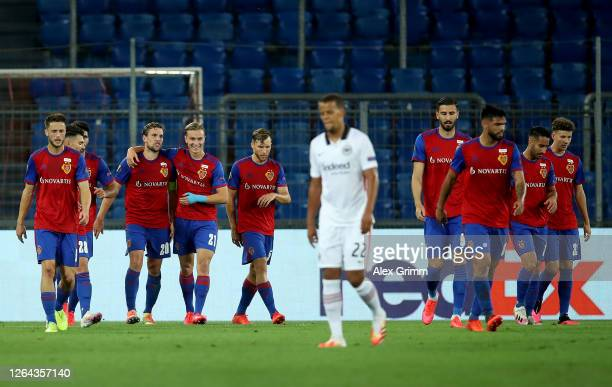 Fabian Frei of Basel celebrates after scoring his sides first goal during the UEFA Europa League round of 16 second leg match between FC Basel and...