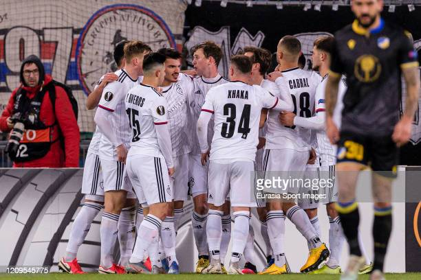 Fabian Frei of Basel celebrating his goal with his teammates during the UEFA Europa League round of 32 second leg match between FC Basel and APOEL...