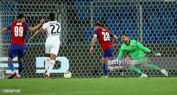 Fabian Frei of Bayer Leverkusen scores his sides first goal during the UEFA Europa League round of 16 second leg match between FC Basel and Eintracht...