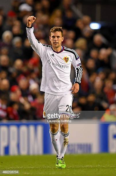 Fabian Frei of FC Basel celebrates after scoring the opening goal during the UEFA Champions League group B match between Liverpool and FC Basel 1893...