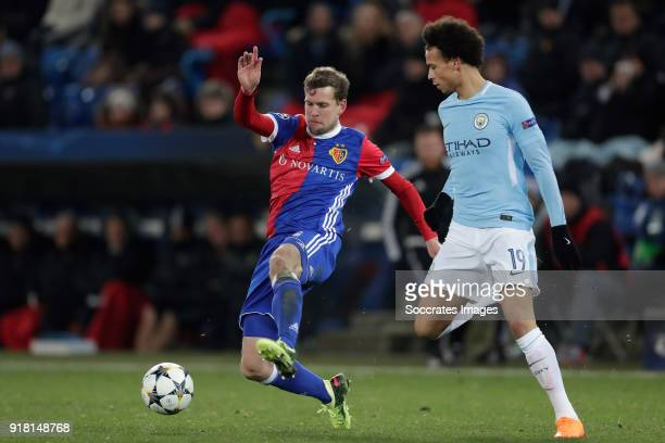 Fabian Frei of FC Basel Leroy Sane of Manchester City during the UEFA Champions League match between Fc Basel v Manchester City at the St JakobPark...