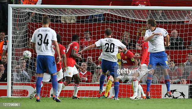 Fabian Frei of FC Basel scores their first goal during the UEFA Champions League Group C match between Manchester United and FC Basel at Old Trafford...