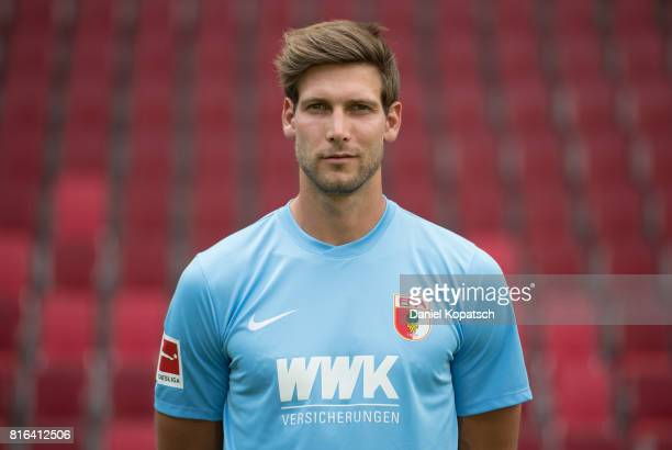 Fabian Giefer of FC Augsburg poses during the team presentation at WWK Arena on July 17 2017 in Augsburg Germany