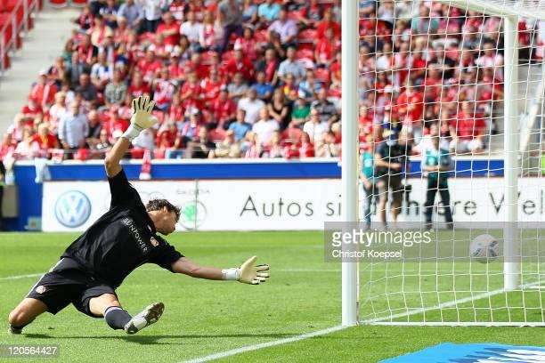 Fabian Giefer of Leverkusen gets the first goal of Sami Allagui of Mainz during the Bundesliga match between FSV Mainz 05 and Bayer 04 Leverkusen at...