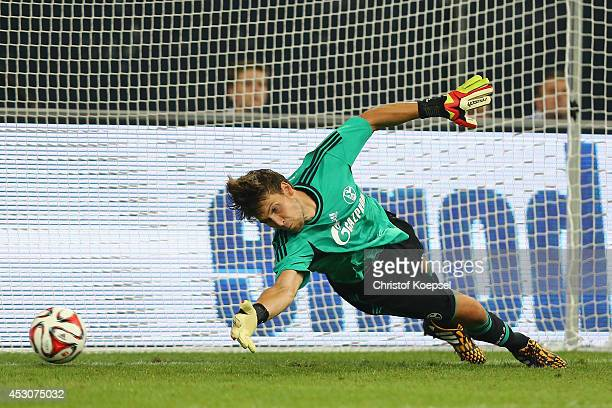 Fabian Giefer of Schalke gets a penalty goal during the match between FC Schalke 04 and West Ham United as part of the Schalke 04 Cup Day at...