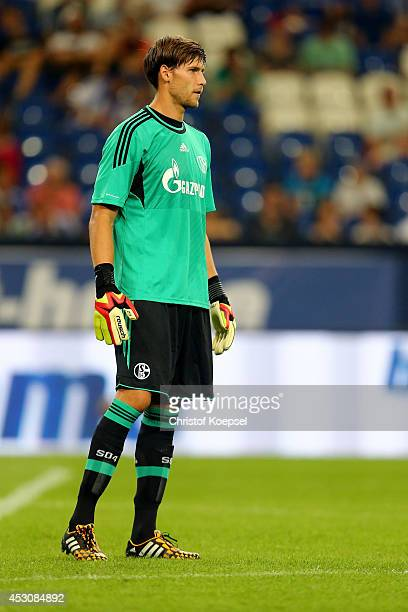 Fabian Giefer of Schalke is seen during the match between FC Schalke 04 and West Ham United as part of the Schalke 04 Cup Day at VeltinsArena on...