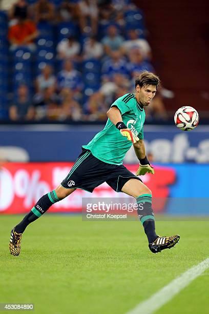 Fabian Giefer of Schalke kicks the ball during the match between FC Schalke 04 and West Ham United as part of the Schalke 04 Cup Day at VeltinsArena...