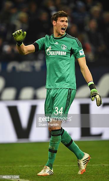 Fabian Giefer of Schalke reacts during the Bundesliga match between FC Schalke 04 and Hannover 96 at Veltins Arena on January 31, 2015 in...