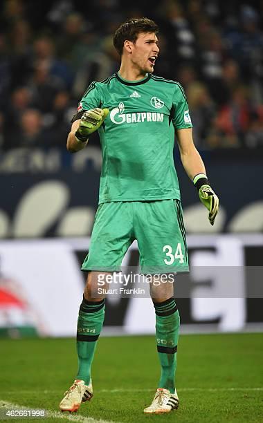 Fabian Giefer of Schalke reacts during the Bundesliga match between FC Schalke 04 and Hannover 96 at Veltins Arena on January 31 2015 in...