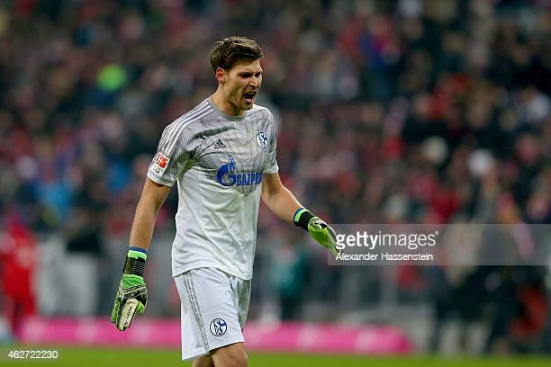 Fabian Giefer of Schalke reacts during the Bundesliga match between FC Bayern Muenchen and FC Schalke 04 at Allianz Arena on February 3 2015 in...