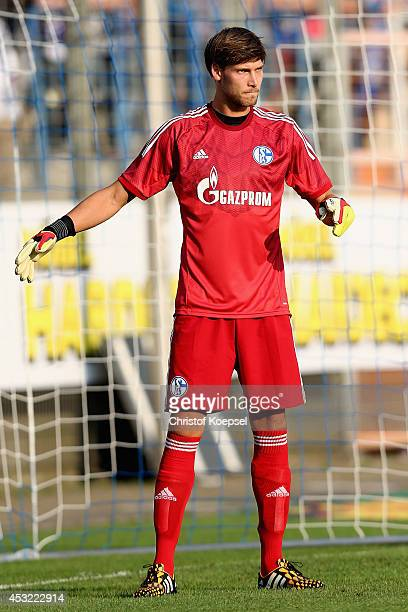 Fabian Giefer of Schalke shouts during the pre-season friendly match between VfL Bochum and FC Schalke 04 at Rewirpower Stadium on August 5, 2014 in...