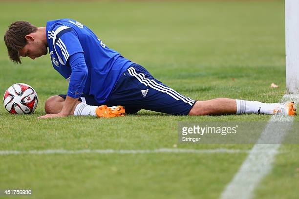 Fabian Giefer of Schalke warms up prior to the friendly match between TuS Hordel and FC Schalke 04 at Lohrheidestadion on July 5 2014 in Bochum...