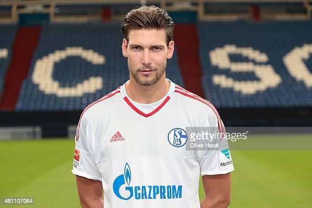 Fabian Giefer poses during the team presentation of FC Schalke 04 at VeltinsArena on July 17 2015 in Gelsenkirchen Germany