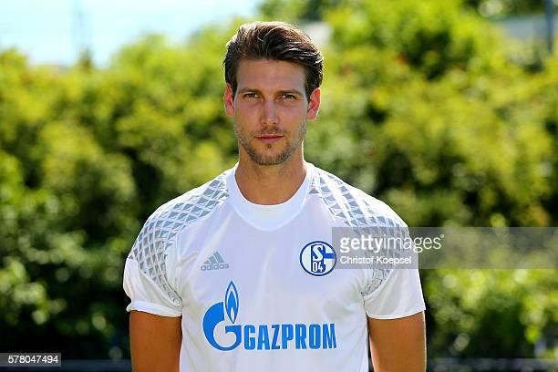 Fabian Giefer poses during the team presentation of FC Schalke at Veltins Arena on July 20 2016 in Gelsenkirchen Germany