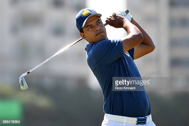 Fabian Gomez of Argentina plays his shot from the eighth tee on Day 9 of the Rio 2016 Olympic Games at the Olympic Golf Course on August 14 2016 in...
