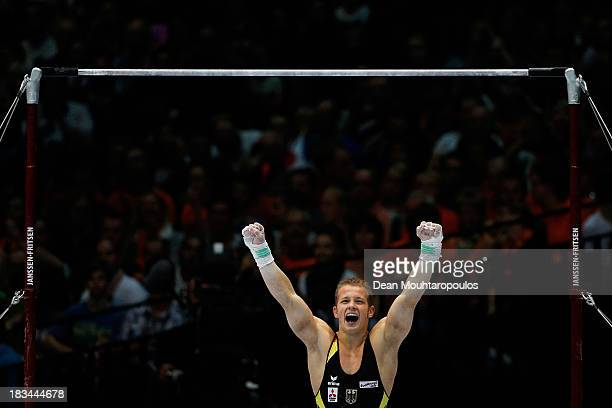 Fabian Hambuchen of Germany celebrates after he competes during the Horizontal Bar Final on Day Seven of the Artistic Gymnastics World Championships...