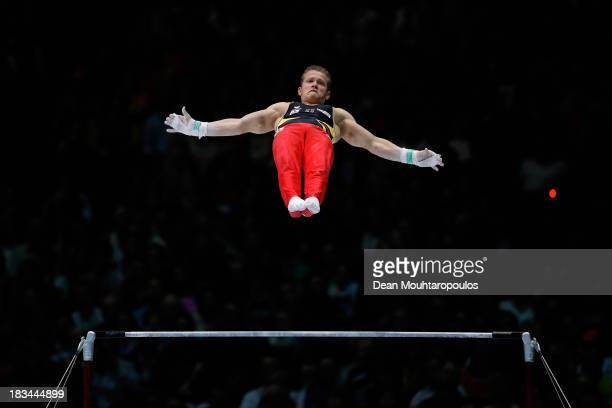Fabian Hambuchen of Germany competes during the Horizontal Bar Final on Day Seven of the Artistic Gymnastics World Championships Belgium 2013 held at...