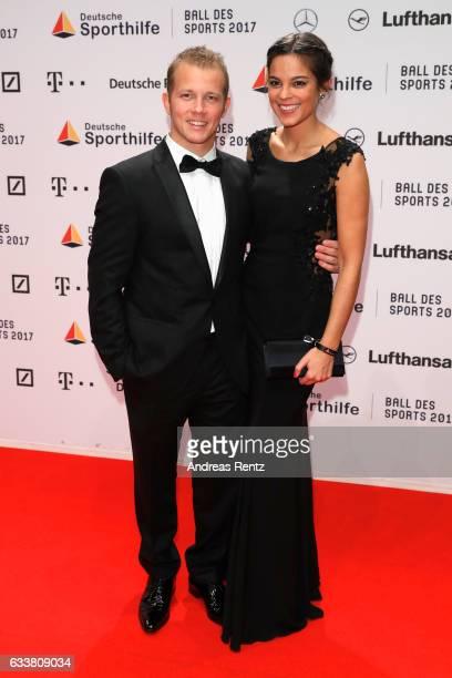 Fabian Hambuechen and his girlfriend Marcia Ev attend the German Sports Gala 'Ball des Sports 2017' on February 4, 2017 in Wiesbaden, Germany.