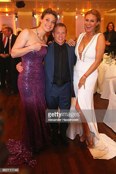 Fabian Hambuechen attends with Britta Heidemann and Magdalena Brzeska during the Sportler des Jahres 2015 gala at Kurhaus Baden-Baden on December 20,...