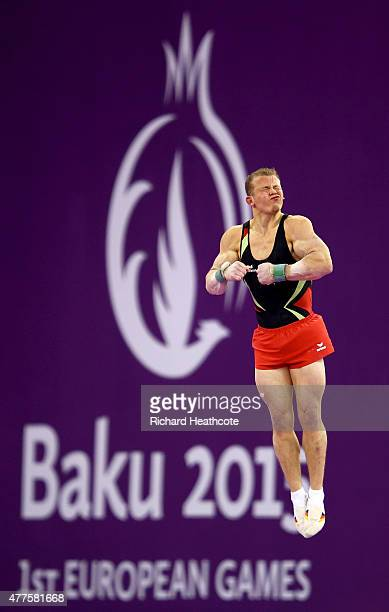 Fabian Hambuechen of Germany competes on the Vault in the Artistic Gymnastics Men's Individual All Round Final during day six of the Baku 2015...