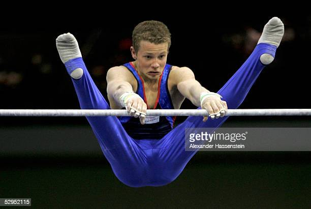 Fabian Hambuechen of Germany performs on the horizontal bar during the International German Gymnastics Festival on May 19 2005 in Berlin Germany