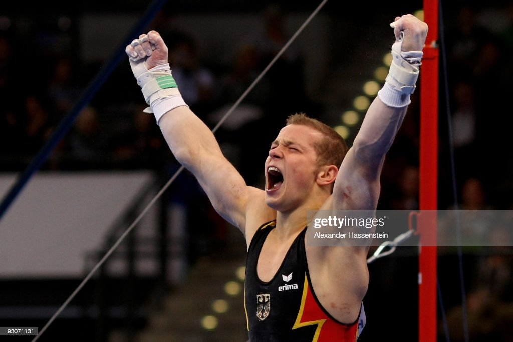 Fabian Hambuechen Of Germany Reacts After Competing At The High Bar During Champions Trophy 2009