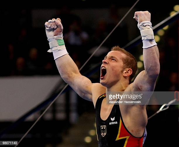 Fabian Hambuechen of Germany reacts after competing at the high bar during the Champions Trophy 2009 at the Porsche Arena on November 15 2009 in...