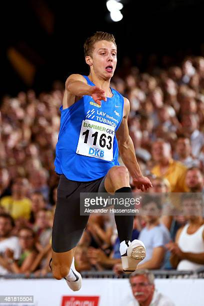 Fabian Heinle of LAV Tuebingen wins the mens long jump finale at Hauptmarkt Nuremberg during day 1 of the German Championships in Athletics on July...