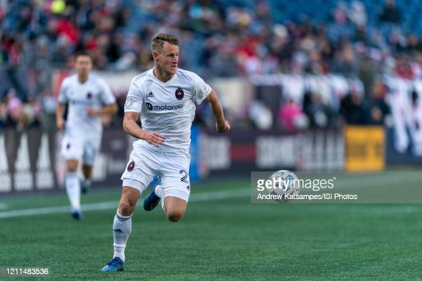 Fabian Herbers of Chicago Fire looks to pass during a game between Chicago Fire and New England Revolution at Gillette Stadium on March 7 2020 in...