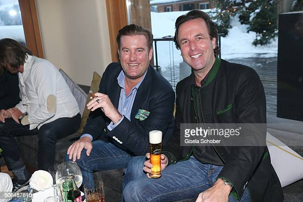 Fabian Herdieckerhoff and Florian Haffa during the Daniel Marshall cigar lounge event at Kitzbuehel Country Club on January 23 2016 in Kitzbuehel...