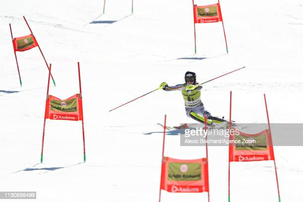 Fabian Himmelsbach of Germany takes 3rd place during the Audi FIS Alpine Ski World Cup Men's and Women's Alpine Team Event on March 15, 2019 in...