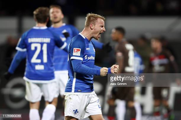 Fabian Holland of Darmstadt celebrates after the Second Bundesliga match between SV Darmstadt 98 and FC St Pauli at MerckStadion am Boellenfalltor on...